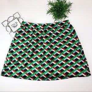J. Crew Silk Geometric Print A-Line Skirt